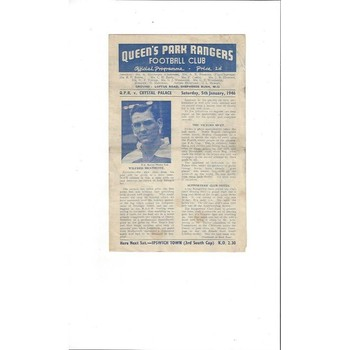 1945/46 Queens Park Rangers v Crystal Palace FA Cup Football Programme