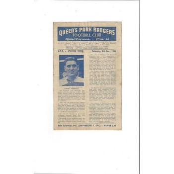 1945/46 Queens Park Rangers v Ipswich Town South Cup Football Programme