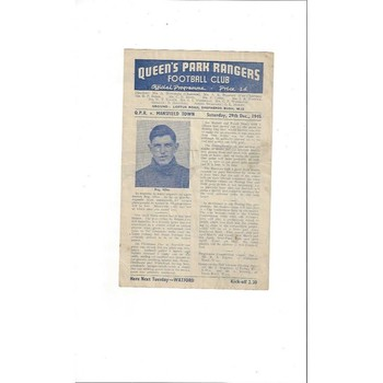 1945/46 Queens Park Rangers v Mansfield Town League South North Region Football Programme