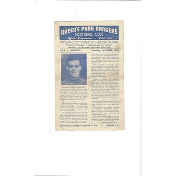 1945/46 Queens Park Rangers v Mansfield Town League South Cup Football Programme