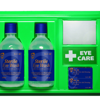 Eye Wash Station with Mirror, Sign and 2 x 500ml Bottles