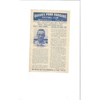 1945/46 Queens Park Rangers v Notts County League South Cup Football Programme