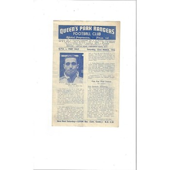 1945/46 Queens Park Rangers v Port Vale South Cup North Region Football Programme