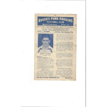 1945/46 Queens Park Rangers v Southend United South Cup Football Programme