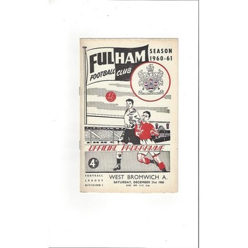 1960/61 Fulham v West Bromwich Albion Football Programme