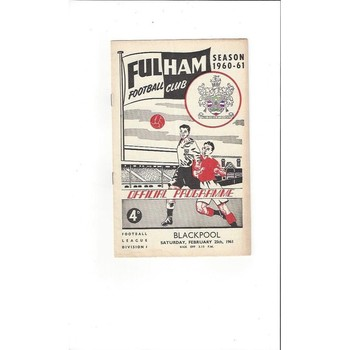 1960/61 Fulham v Blackpool Football Programme