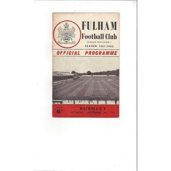 1961/62 Fulham v Burnley Football Programme