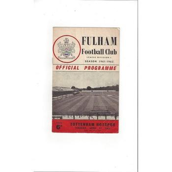 1961/62 Fulham v Tottenham Hotspur Football Programme