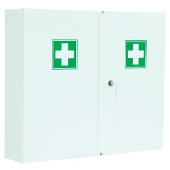 Empty Metal First Aid Cabinet - Double Doors