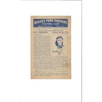 1947/48 Queens Park Rangers v Northampton Town Football Programme