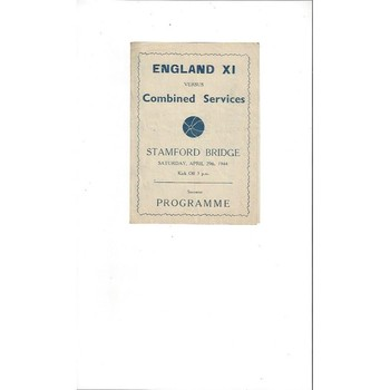 England X1 v Combined Services Football Programme 1943/44 @ Chelsea Pirate Edition