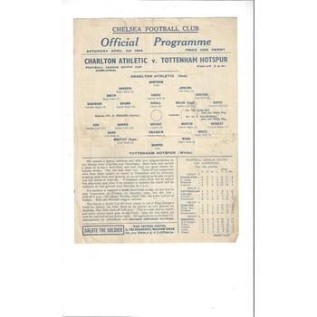 1944 Charlton Athletic v Tottenham Hotspur League Cup South Semi Final Football Programme @ Chelsea