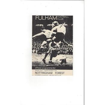 Fulham v Nottingham Forest 1964/65