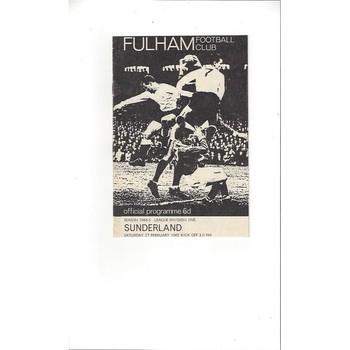 1964/65 Fulham v Sunderland Football Programme