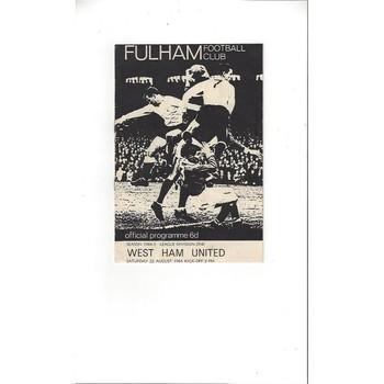 1964/65 Fulham v West Ham United Football Programme