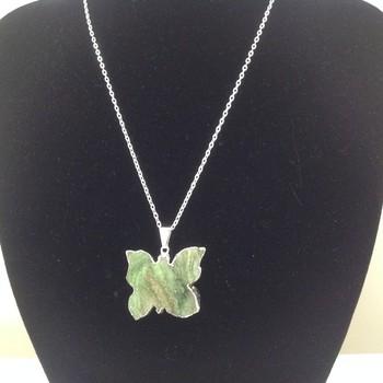 Agate - Green Druzy Butterfly Pendant