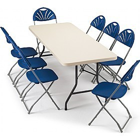 Trestle Table with Folding Chairs