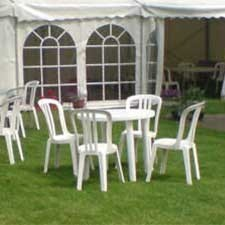 White Plastic Table/Chairs