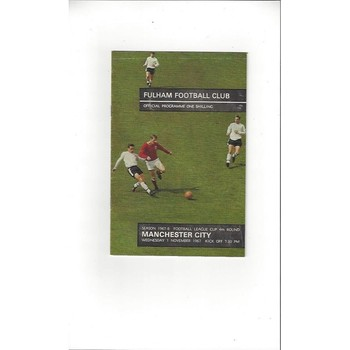 1967/68 Fulham v Manchester City League Cup Football Programme