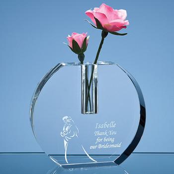 Optical Crystal Round Bud Vase (12cm)