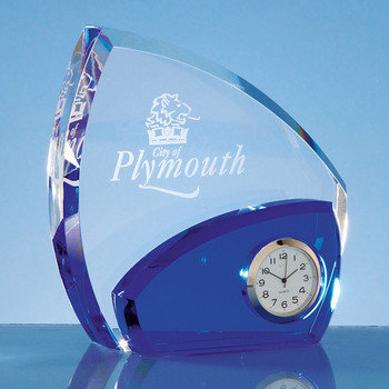 Optical Crystal Clear and Sapphire Blue Clock (13.5cm)