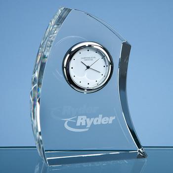 Dartington Crystal Crescent Clock (11cm)