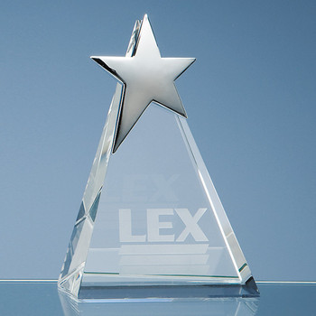 Optical Crystal Triangle Award with Silver Star (15cm)