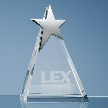 Optical Crystal Triangle Award with Silver Star (15cm)
