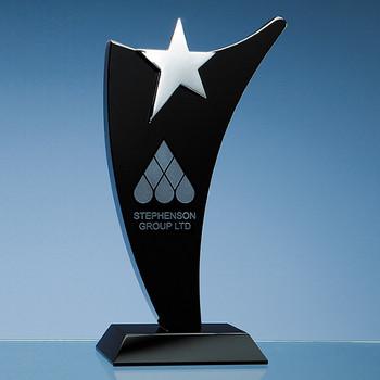 Oynx Black Optic Swoop Award with Silver Star (25cm)