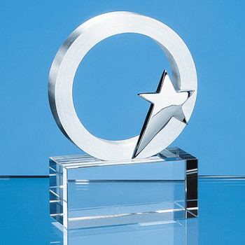7.5cm Silver Star and Circle on an Optical Crystal Base