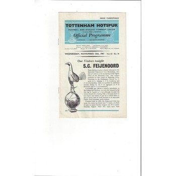 1961/62 Tottenham Hotspur v Feijenoord European Cup Football Programme