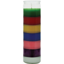 7 Colour Glass Candle