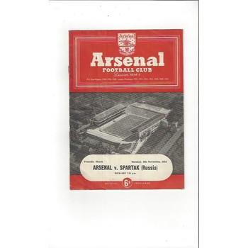 1954/55 Arsenal v Spartak Friendly Football Programme