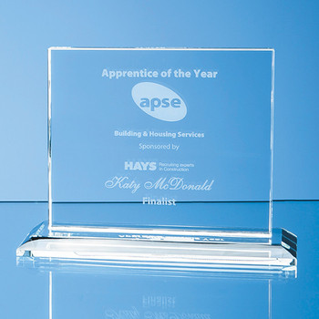Clear Glass Horizontal Rectangle Award (12.5cm x 15cm x 12mm)