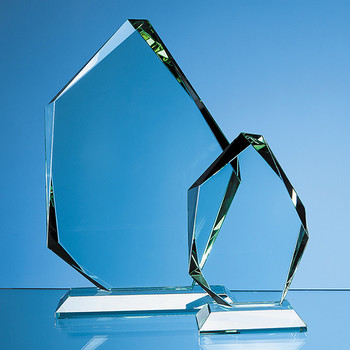 Jade Glass Facetted Ice Peak Award (15cm x 19mm)