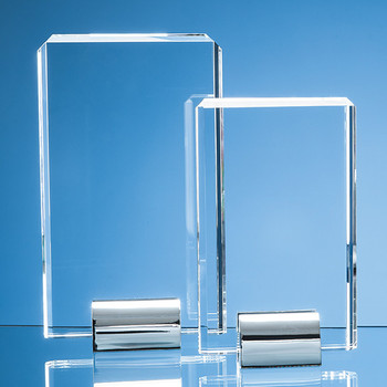 Optical Crystal Rectangle mounted on a Chrome Stand (20cm)