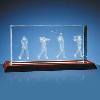 3D Golf Scene in 10cm x 20cm Optical Glass Block