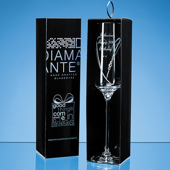 'Just For You' Diamante Champagne Flute with Heart Shaped Cutting in attractive Gift Box