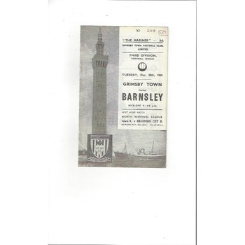 1960/61 Grimsby Town v Barnsley Football Programme