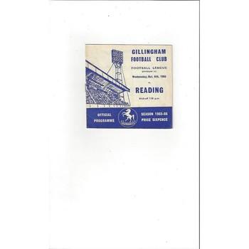 1965/66 Gillingham v Reading Football Programme October Postponed