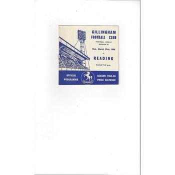 1965/66 Gillingham v Reading Football Programme March