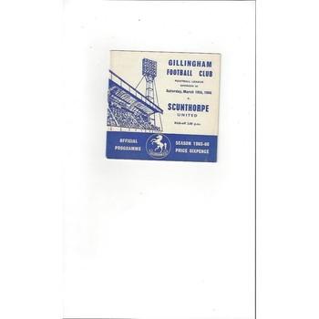 1965/66 Gillingham v Scunthorpe United Football Programme