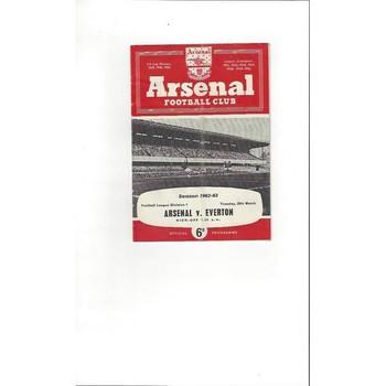 1962/63 Arsenal v Everton Football Programme