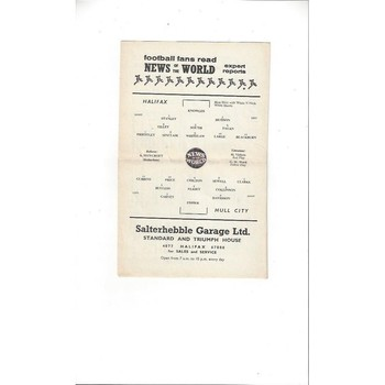 1960/61 Halifax Town v Hull City Football Programme