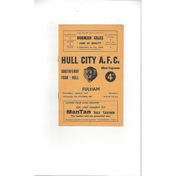 1962/63 Hull City v Fulham League Cup Football Programme