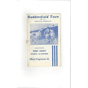1960/61 Huddersfield Town v Derby County Football Programme