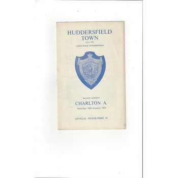 1963/64 Huddersfield Town v Charlton Athletic Football Programme