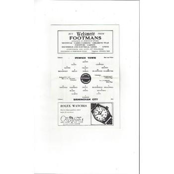 1963/64 Ipswich Town v Birmingham City Football Programme
