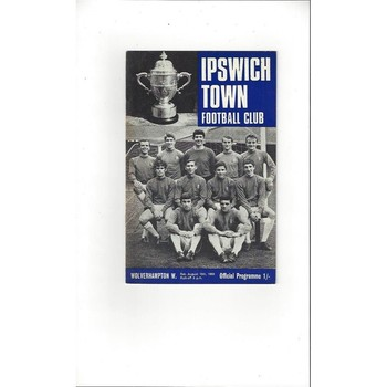 1968/69 Ipswich Town v Wolves Football Programme