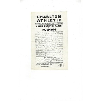 Charlton Athletic v Fulham Friendly Football Programme 1965/66